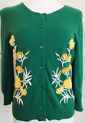 $ CDN45.07 • Buy Anthropologie Tabitha Green Yellow White Floral Embroidered Cardigan Sweater L