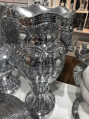LARGE SILVER MIRRORED SPARKLE VASE, LOVELY SPECTACULAR 60cm Tall. • 44.99£