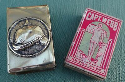 Brass WW1 Trench Art Matchbox Cover With German Helmet - A Souvenir Of France • 9.99£
