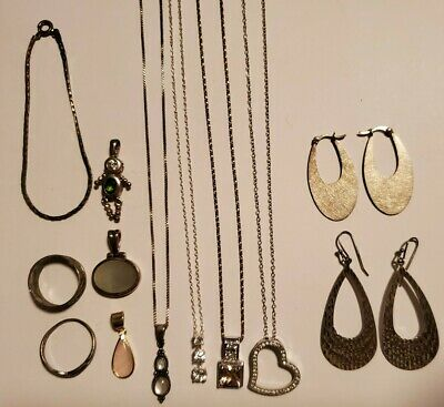 $ CDN13.24 • Buy Vintage Mixed Lot 16+ Pc 925 Sterling Silver Jewelry Italy Gemstones CZ