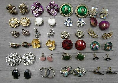 $ CDN13.24 • Buy Vintage Lot Of 24 Costume Jewelry Statement Clip Earrings Cloisonné AS IS