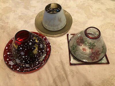 Brand New 3 X Yankee Candle Lamp Shades & Plate Sets Christmas • 40£