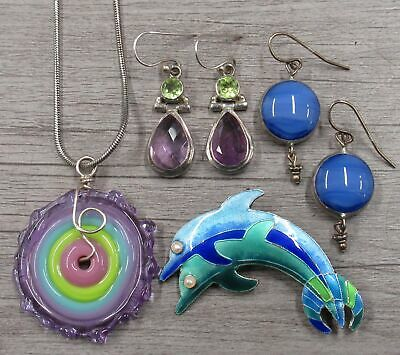 $ CDN17.22 • Buy Sterling Silver Jewelry Lot Enamel Dolphin Pin Brooch Colorful Glass Necklace