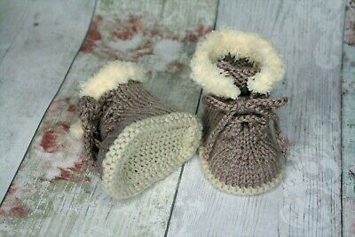 New Hand Knitted Baby Booties Light Brown Unisex Lace Up Shoes 0-3, 3-6, 6-9 • 5.99£
