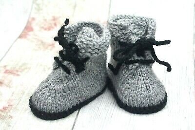 New Hand Knitted Baby Booties Grey Unisex Lace Up Shoes 0-3, 3-6 • 5.99£
