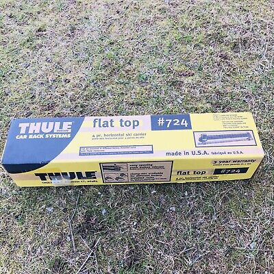 $39 • Buy Used Thule No 724 Ski And/or Snowboard Flat Top Roof Rack Set With Box / No Key