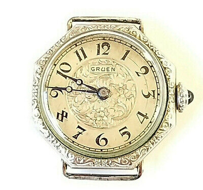 1920s ART DECO GRUEN GUILD 14K WHITE GOLD FILLED WATCH RUNS GATSBY ERA NOT SCRAP • 7.71£