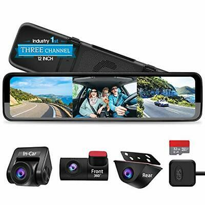 AU461.33 • Buy Triple Mirror Dash Cam 12  With Detached Front And In-Car Camera,Waterproof Rear