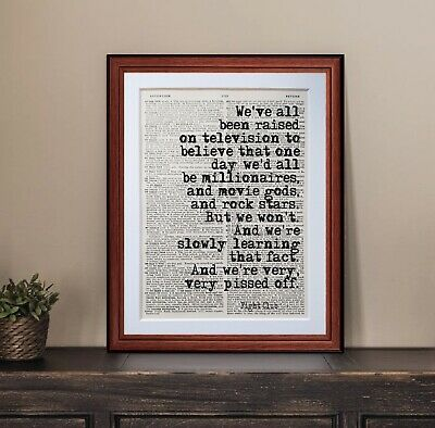 £5.25 • Buy Fight Club Quote Dictionary Page Art Print Poster Literary Gift Quotes