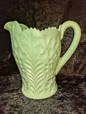 $99.99 • Buy L.e. Smith *dogwood* Rare Jadeite Green Milk Glass 8 1/2  Pitcher Vintage