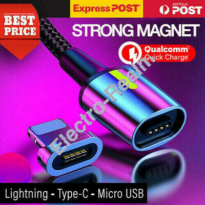 AU6.95 • Buy Magnetic Lightning Cable/Micro USB/Type C Fast Charging Charger Cord For IPhone