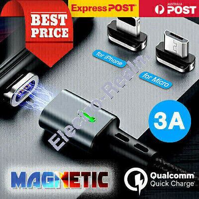 AU4.95 • Buy Magnetic 3A I-Product Cable/Type C/Micro USB Fast Charging Charger For IPhone