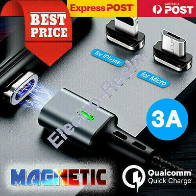 AU9.36 • Buy Magnetic 3A Lightning Cable/Type C/Micro Fast Charging Charger IPhone Samsung