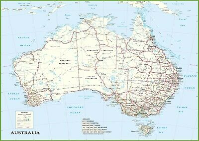 AU19.95 • Buy Detailed Map Of Australia Roads Poster Print Choose Your Size Unframed.
