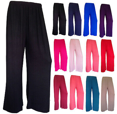 £5.99 • Buy Ladies Plus Size Plain Palazzo Baggy Pants Womens Wide Leg Flared Trousers 8-14