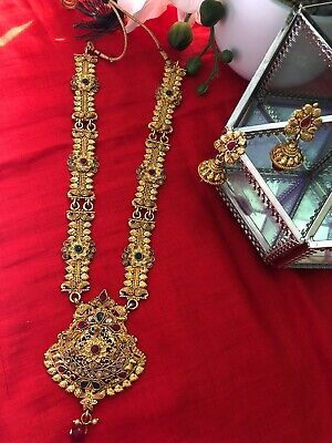 $35.99 • Buy Indian Jewelry Bridal Fashion Long Necklace Earring Set