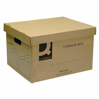 10x Q-Connect Brown Storage Box With Lid Paper Archive 400 X 335 X 250mm • 18.99£