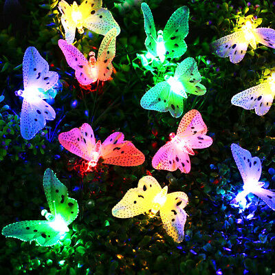 Solar Power Garden Stake Butterfly Outdoor Landscape Lamp Yard LED Light 12Pcs • 7.99£