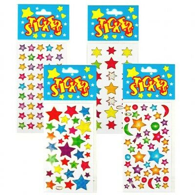 Childrens Kids Girls Boys Star Theme Sticker Sheets Party Bag Fillers 3-72 Pack • 1.99£