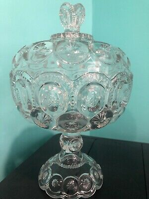 $30 • Buy Vintage L.E. Smith Clear Glass Footed Tall Moon And Stars Bowl With Lid