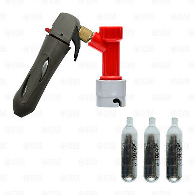 Mini Regulator / Pin Lock Corny Beer Keg Charger Kit Coupler + 3 Co2 Cartridges • 22.90£