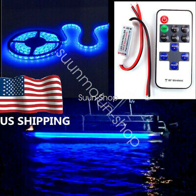 $12.01 • Buy Wireless Waterproof LED Strip Light 16ft For Boat / Truck / Car/ Suv /Rv Blue 5M