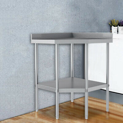 2 Tier Stainless Steel Table Work Bench Catering Table Kitchen Backsplash Top UK • 175.95£