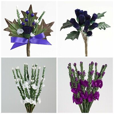 £2.25 • Buy Thistle And Heather Artificial Buttonhole Scottish Wedding Sprays Card Crafts