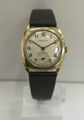£279 • Buy Beautiful Vintage Marvin 9CT Gold Wind Up Mechanical Watch With New Strap - VGC