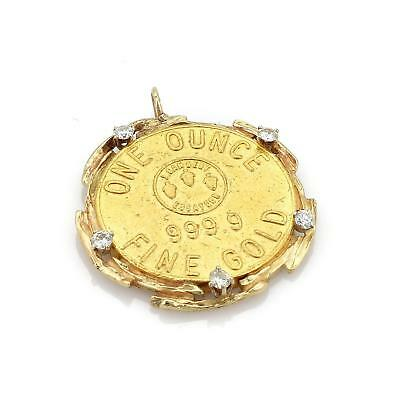 $2609.98 • Buy Vintage 1872 Swiss Bank 24k Gold Coin Diamond 14k Gold Pendant LIQUIDATION!