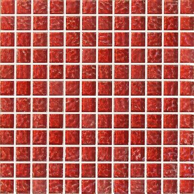 £2.99 • Buy Red Pale Ripple Glass Swimming Pool Bathroom Kitchen Mosaic Wall Tiles