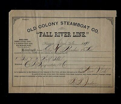 $9.50 • Buy 1870's Old Colony Steamboat Company FALL RIVER LINE Newport, Rhode Island