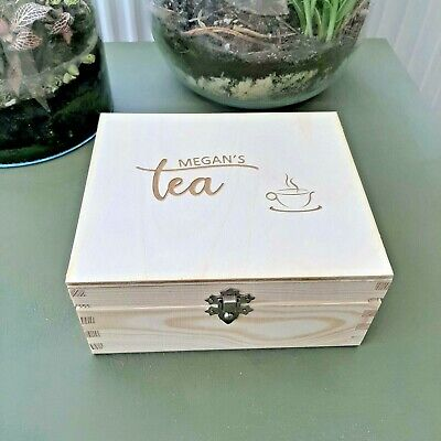 Personalised Tea Bag Box Wooden Case Mr And Mrs Gift Tea Bags Storage Dividers • 15.50£