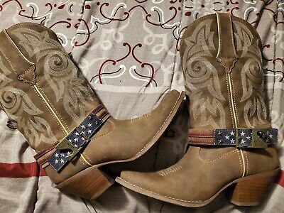 $100 • Buy Durango Crush DRD0208 Can Opener Brown Leather US Flag Western Boots Women's 8M