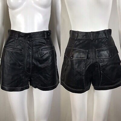 $168 • Buy Rare Vtg Jean Paul Gaultier Black Leather Shorts S