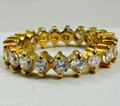 $26.12 • Buy Charles Winston Sterling Silver 925 Gold Plate CZ Eternity Ring Size 8 Stackable