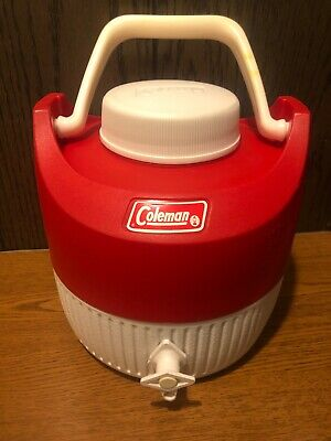 $39.99 • Buy Vintage Coleman 1 Gallon Red & White Water Jug. W/CUP! EXCELLENT SHAPE!!! RARE!