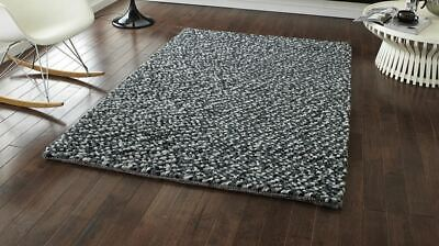 Think Rugs Pebbles Grey Knotted Wool Rug • 175£