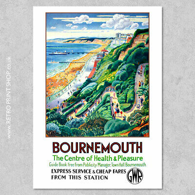 £7.50 • Buy GWR Bournemouth Poster - Railway Posters, Retro Vintage Travel Poster Prints