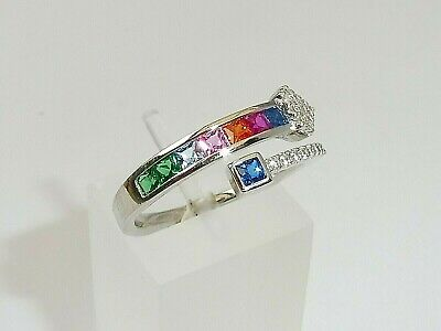 Ladies 925 Sterling Solid Silver Brilliant And Princess Cut Multi Gem Dress Ring • 27.50£