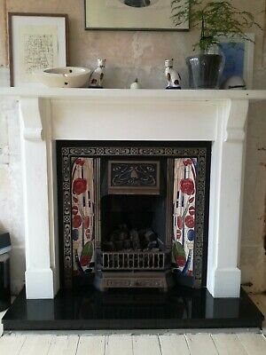 Victorian Style Cast Iron Fireplace, Black Granite Hearth And Wood Surround • 75£