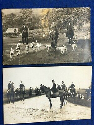 £5.99 • Buy HUNTING: HORSES & HOUNDS - 2 X NICE REAL PHOTO POSTCARDS!
