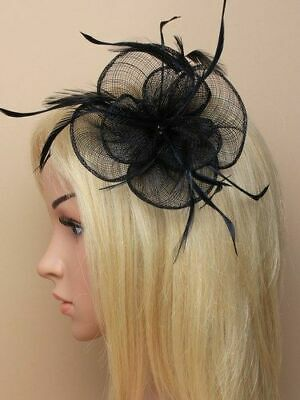 £4.95 • Buy Black Flower Shaped Fascinator With Feathers On Clip And Pin.