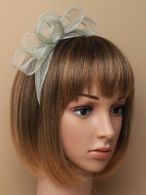 AU15.30 • Buy Pale Sage Green Fascinator With Bows On Aliceband.