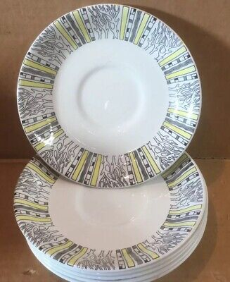 X6 Vintage 1950s Barratts Delphatic White Stripes Tablewear Saucers • 23£