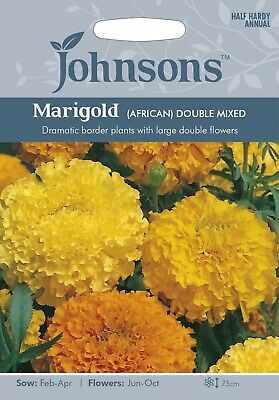 African Marigold Seeds Double Mixed Seeds By Johnsons FREE UK DELIVERY • 3.40£