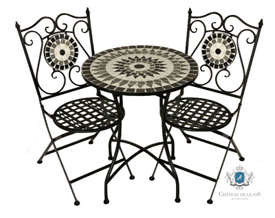 AU379.95 • Buy Set 3 Piece Black Mosaic Garden Patio Bistro Setting Balcony Outdoor Furniture