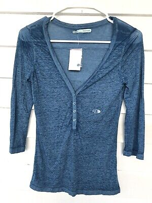 $9.99 • Buy Maurice's Small Henley Semi Sheer V Neck 3/4 Sleeve Solid Blue NWT