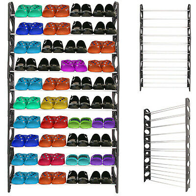 £13.95 • Buy 10 Tiers 60 Pairs Shoe Rack Shoes Shelves Organizer Stand Storage Easy Assemble