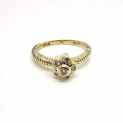 $540 • Buy 18K Yellow Gold Star Diamond Designer MCU Unusual Cable Ring #32056